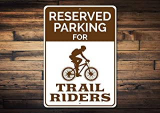 Bicycle Parking Sign, Trail Rider Decor, Gift Biker, Bicyclist Sign, Bike Lover Gift, Biking Metal Sign,Metal Aluminum Sign, 8