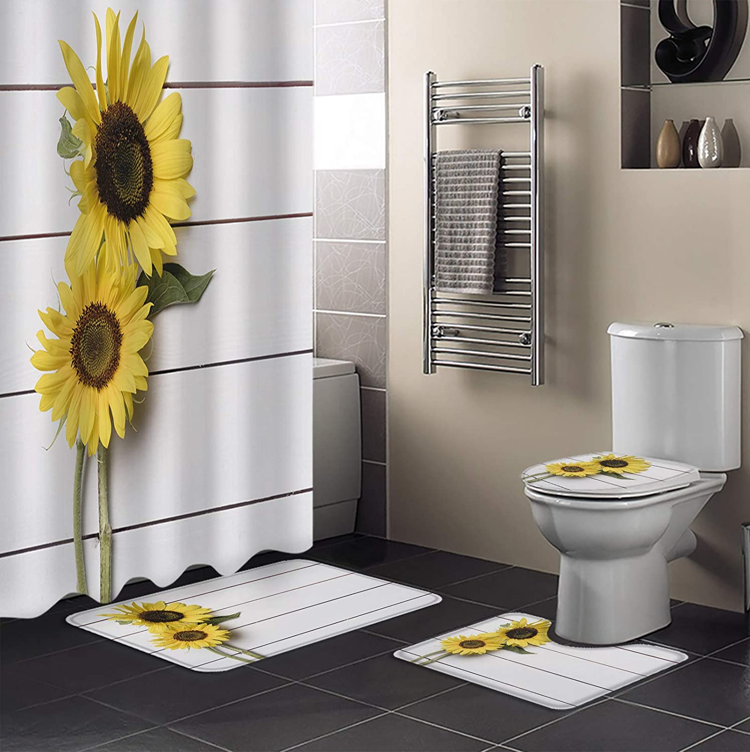 MUSEDAY 4 Piece Shower Limited time trial price Curtain Set Lid Toilet Rug Non-Slip with Inexpensive
