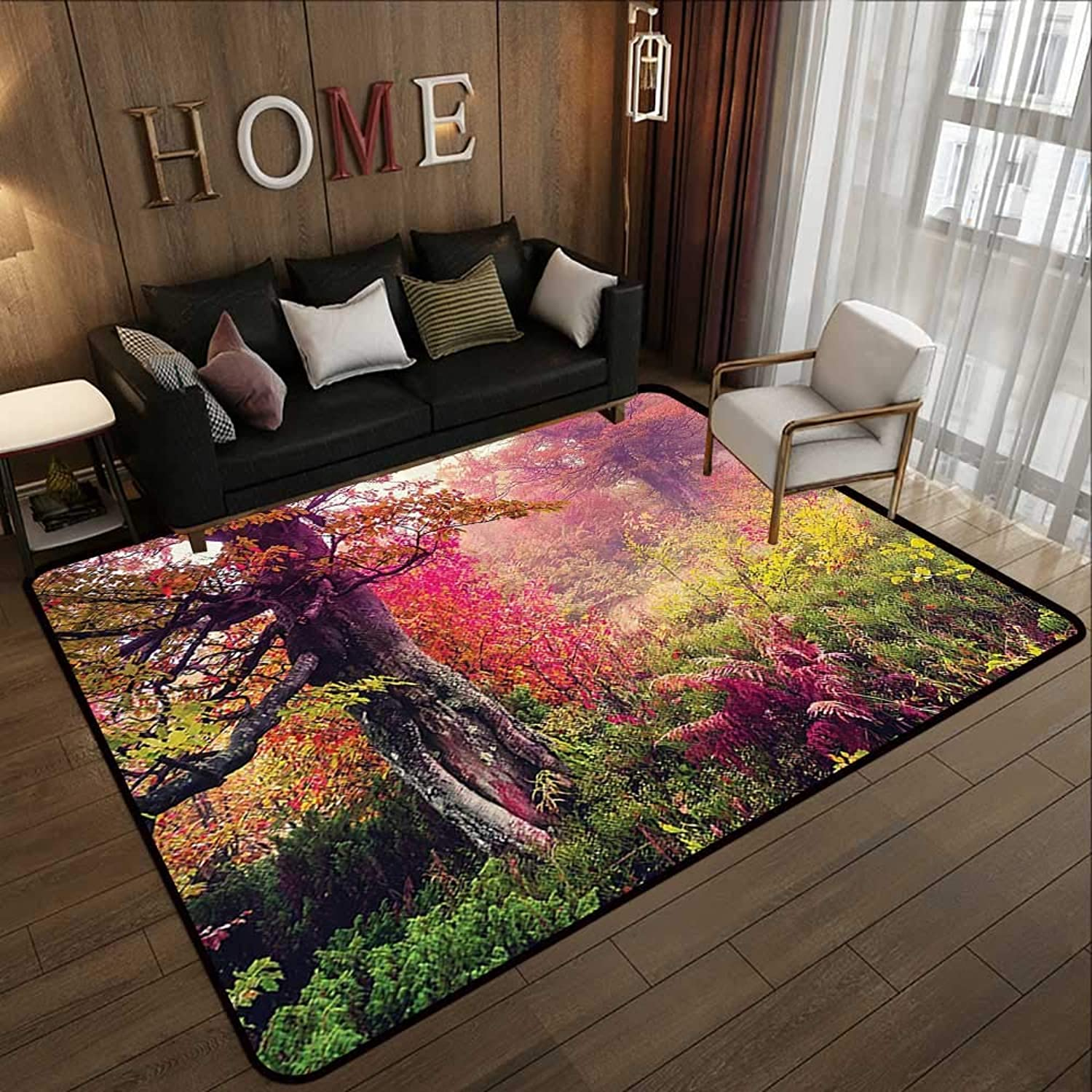 Modern Area Rug with Non-Skid,Farm House Decor,Fairy Majestic Landscape with Autumn Trees in Forest Natural Garden in Ukraine,Multi 47 x 59  Indoor Super Absorbs Doormat