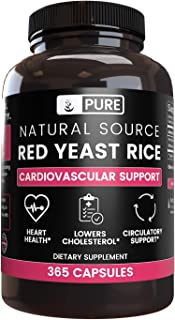 100% Natural Red Yeast Rice |4 Month Supply | No Magnesium or Rice Filler, No Gluten or Dairy, Made in USA, Highest Quality & Purity, 1245 mg of Undiluted Red Yeast Rice with No Additives (365 caps)