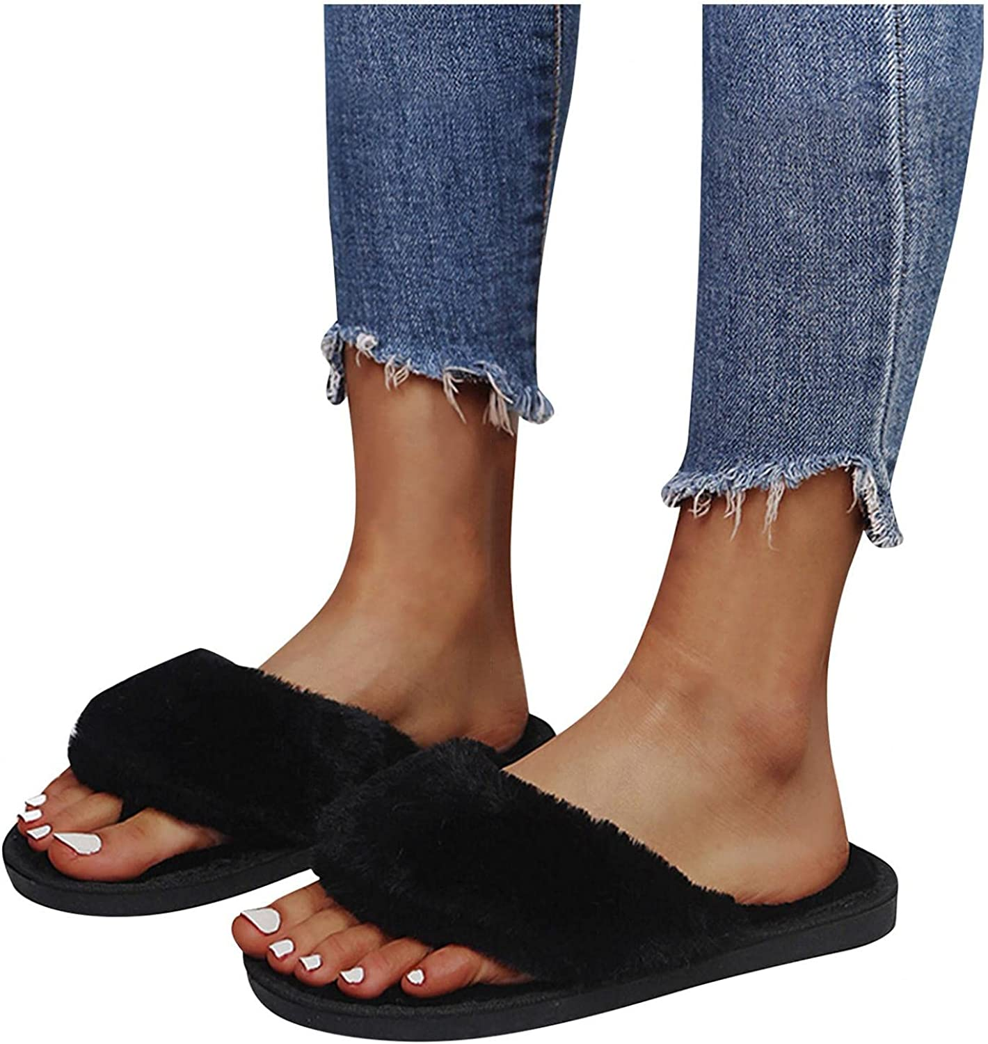 AODONG Slippers for Women Open Toe Breathable Fuzzy Comfy Indoor Outdoor House Home Slipper Warm Slip On Sandals