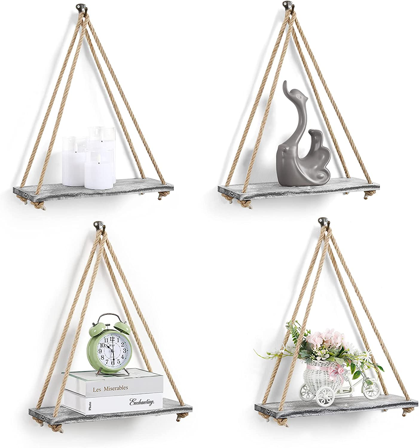 BTY Hanging Plant Shelf Set of Wood Easy-to-use 4 for Shelves Wall Ranking TOP13 M