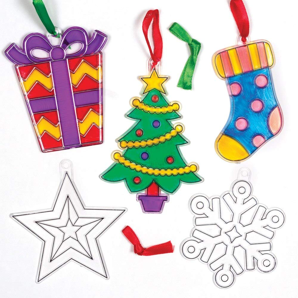 Baker Ross Christmas Suncatcher Ornaments Kits, Festive Arts and Craft (Pack of 10)