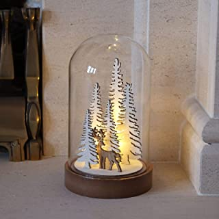 Mr Crimbo Light Up Reindeer & Twig Christmas Tree Dome Xmas Indoor Room Festive Battery Operated Decoration, Polyester, Ne...