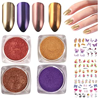 4 Boxes Mirror Nail Powder Glitter Holographic Effect Gold Chrome Pearl Nail Art Powder Metallic Laser Manicure Dip Colors 2G,3Sheets Nail Stickers (LIFE021)