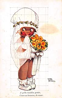 Little Girl Bride with Flowers Black Americana Mabel Lucie Attwell PC J64102