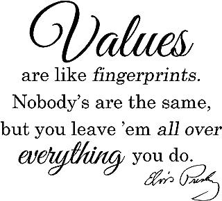 ValueVinylArt Elvis Presley-Values are Like Fingerprints-Wall Decal Black (24