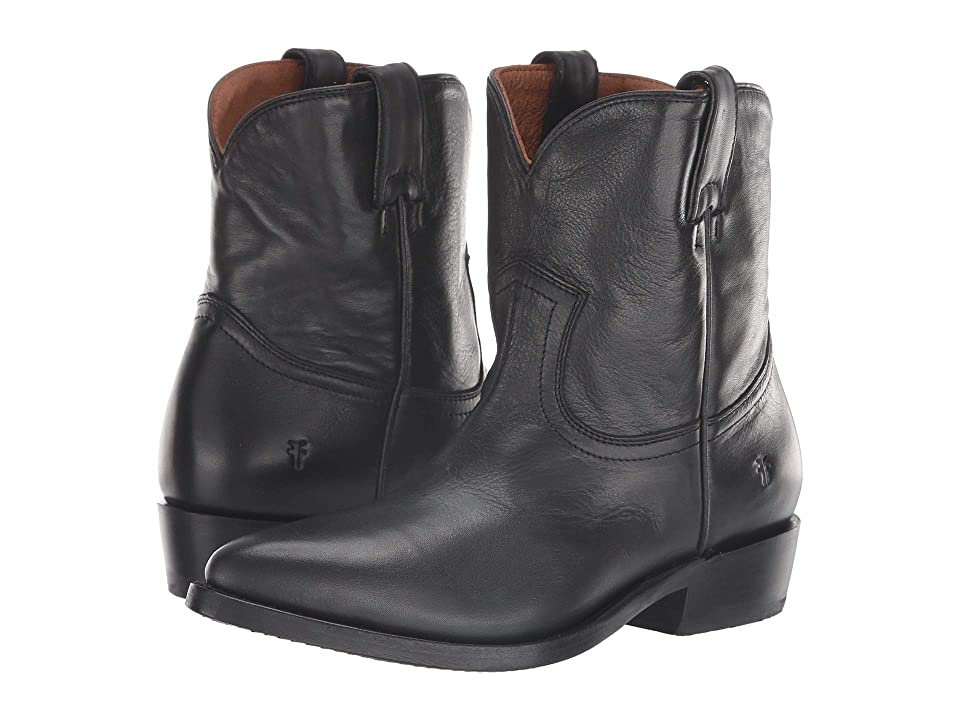 Frye Billy Short (Black Polished Soft Full Grain) Cowboy Boots