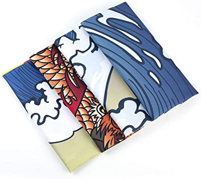 51.2 x 59.1 inches SENYYI Japanese Ukiyo-e Tapestry Wall Hanging Great Wave Kanagawa Tapestry Ocean Sunset Tapestry 3D Dragon Home Decor for Room