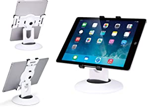Max Smart Retail Kiosk iPad Stand, 360 Rotating Commercial Tablet Stand, 6 to 13.5 inch iPad Mini Pro Business Tablet Holder, Swivel Design for Store Office Showcase Reception Kitchen Desktop (White)