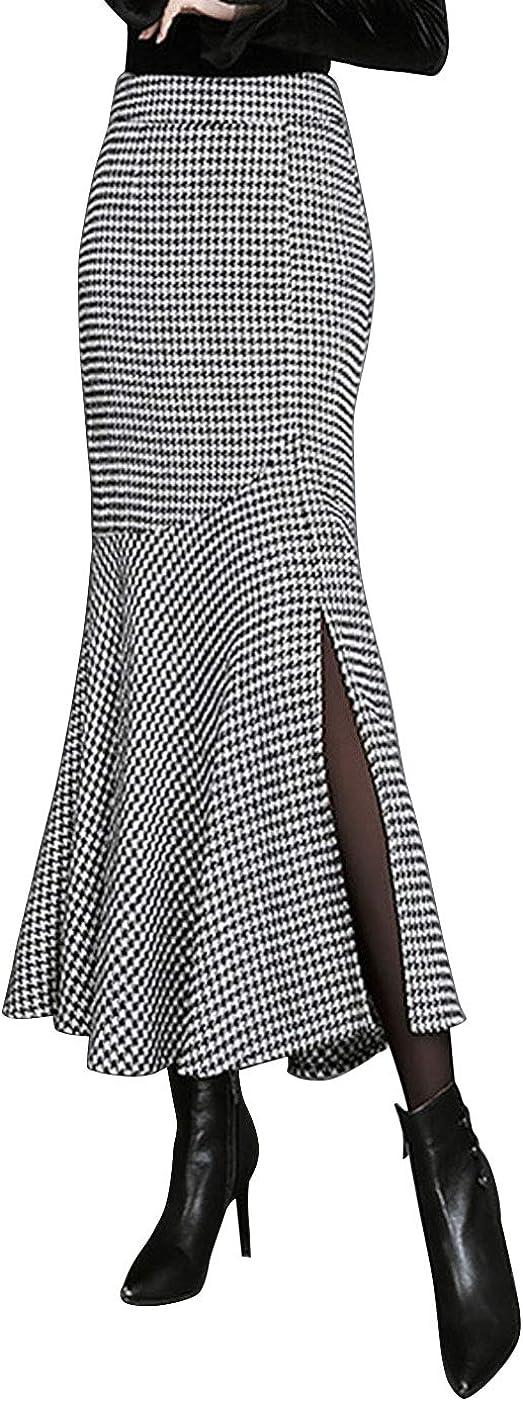 ebossy Women's Elegant Houndstooth High Waist Split Fishtail Mermaid Long Skirt
