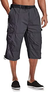 MAGCOMSEN Mens Cargo Shorts Casual 3/4 Length Baggy Combat Trousers Elasticated Waist with Multi Pockets