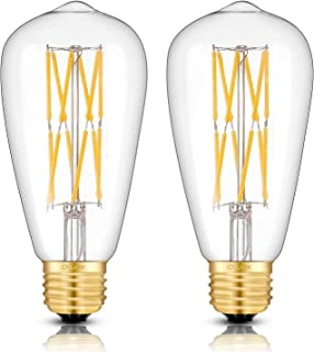 CRLight 12W 3000K Dimmable LED Edison Bulb Soft White Glow, 1200LM 120W Incandescent Equivalent E26 Medium Base, Antique ST64 LED Double-layer Spiral Filament Bulbs, Smooth Dimming Version, 2 Pack