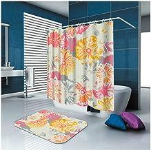 Epinki Polyester Bathroom Curtain Set Colorful Flower Durable Shower Curtain with 12 Hooks Size 150x180CM Bathroom Curtain...