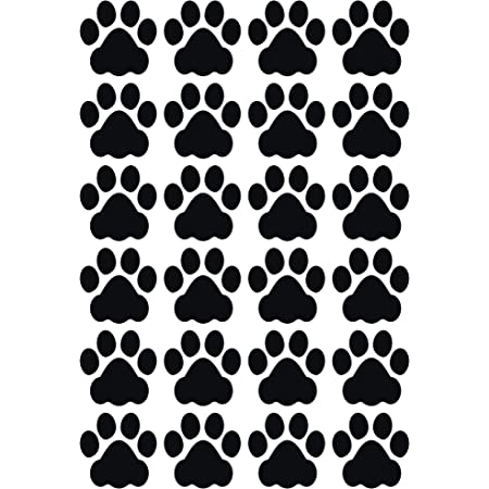 Litemark Durable 3 Inch Dog Paw Print Decals Great For Floors Ceilings Walls Laptops And Most Smooth Surfaces Gloss Finish Black Pack Of 24 Paw Prints Home Kitchen