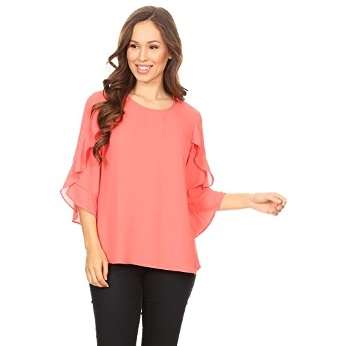 fdc386dcbbc651 Via Jay Women's Basic Casual Comfortable Relaxed 3/4 Wrapped Bell Sleeve  Blouse Chiffon TOP