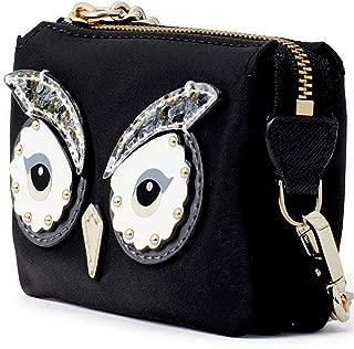 Kate Spade Women's Black Star Bright Owl Mini Natasha Nylon Waller Purse
