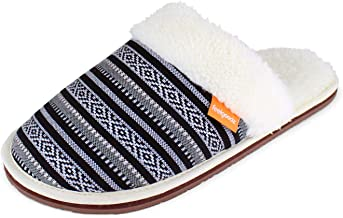 Feelgoodz Nomad Mule Women's Slippers - Uber Comfortable and Soft Faux Sherpa Lining, Woven Cham Pa Fabric Upper, Soft Foa...