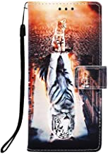 WIITOP For Apple iPhone 7 Plus / 8 Plus / 6s Plus / 6 Plus Cover PU Leather Wallet Phone Case [Kickstand Wrist Strap][Credit Card Slot] Magnetic Closure Stand Flip Full Body Protective (Cat and Tiger)