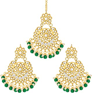 Indian Designer Traditional Dangle Earrings with Maang tikka Set Ethnic Wedding Party Wear Fashion Jewelry for Women