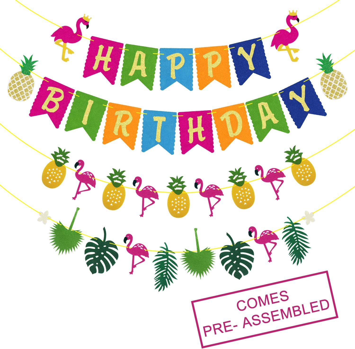 Hawaiian Happy Birthday Banner - Party Year-end annual account Decorations Luau Ranking TOP8