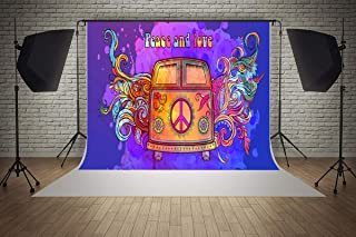 7ft(W) x 5ft(H) 60s 70s Peace and Love Music Backgrounds Vintage Car Baby Shower Wedding Birthday Party Decorations Microfiber Photo Backdrop Studio Props