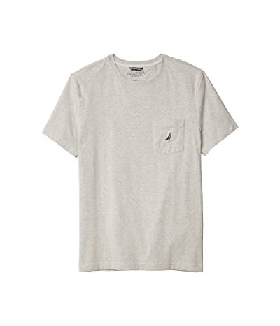 Nautica Short Sleeve Solid Anchor Pocket Tee (Grey Heather) Men