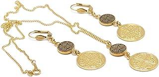 Set FORTUNA ornamento collana fibbie ginkgo giapponese albero nero ottone trefle oro 24k riempito 14k resina regali di Nat...