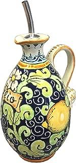 CERAMICHE D'ARTE PARRINI - Italian Ceramic Art Pottery Hand Painted Oil Cruet Lemons Blue Made ITALY Tuscan