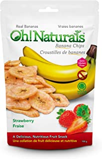 Oh! Naturals Strawberry Banana Chips,Gluten free,Nut Free, Crunchy, Delicious, Nutritious, Dried Fruit Snack, Fruit Flavored Treat, 6 x 3.52 oz Packs