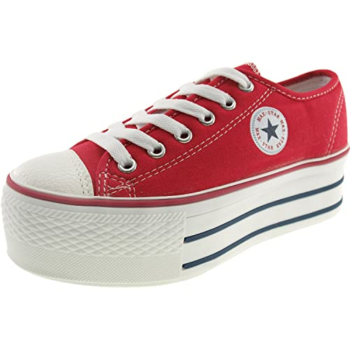 6f01abf2afed Maxstar Women s C50 6 Holes Platform Canvas Low Top Sneakers