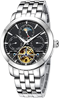 PASOY Men's Automatic Watch Tourbillon Multifunction Dial Black Leather Band Skeleton Mechanical Watches