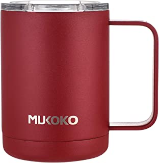 Insulated Coffee Mug 16oz Stainless Steel Vacuum Insulated Mug with Lid and Handle(14oz After Lid is Closed) Red