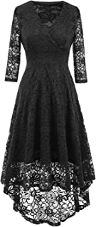 COOSA Women Vintage Beautiful 50's Retro Floral lace Fabric Swing Dress with 3/4 Long Sleeve Deep V Neck High Waist High-Low Hip Lace Party Cocktail Midi Dress
