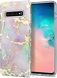 JAHOLAN Galaxy S10 Plus (S10+) Case 3D Design Shiny Gold Purple Marble Reinforced Clear Bumper Hybrid Cushion Scratch Resistant Shockproof Hard Back Cover Phone Case for Samsung Galaxy S10 Plus