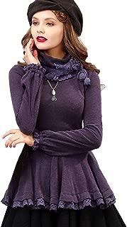 Women's Vintage Slim Turtleneck Pullover Removable Scarf Long Sleeve Lace Ruffled Hem Shirt Tops