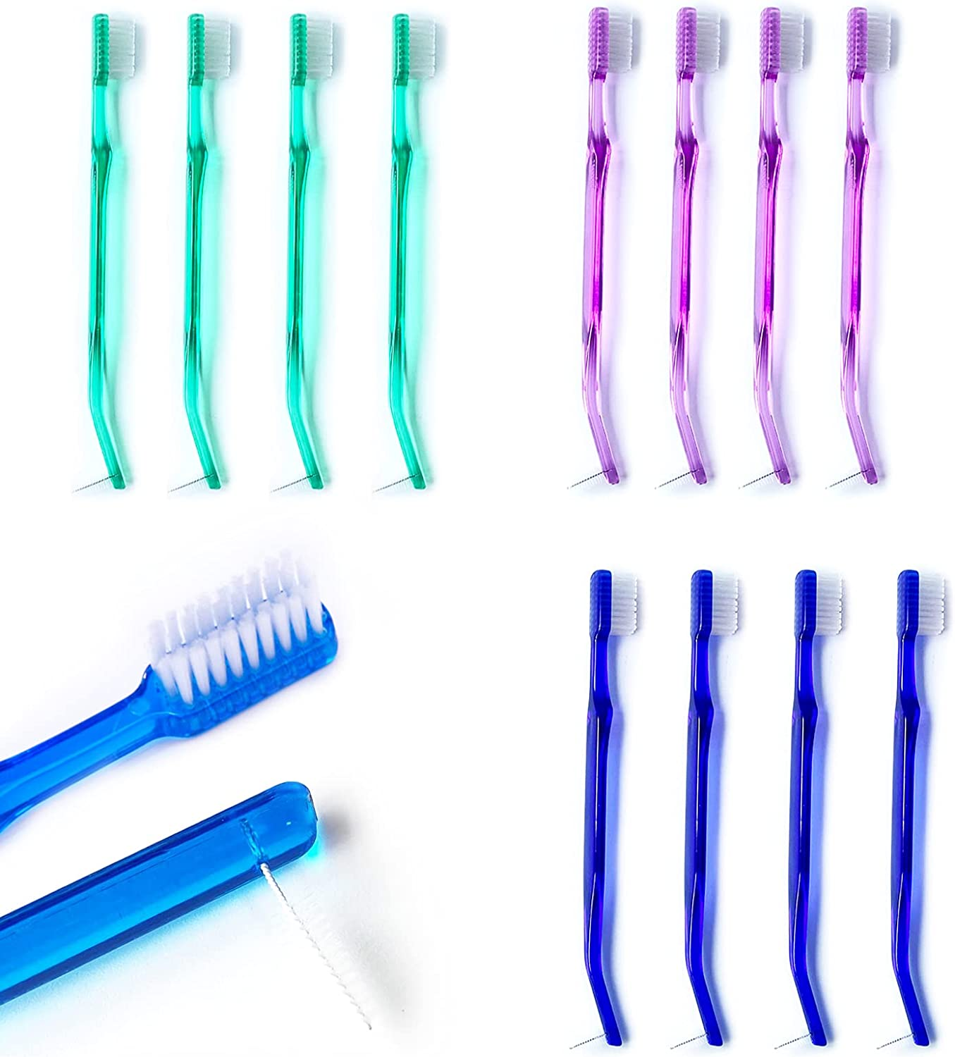 Japan's largest specialty shop assortment 12Pcs Orthodontic Toothbrush for Too Double-Ended Braces
