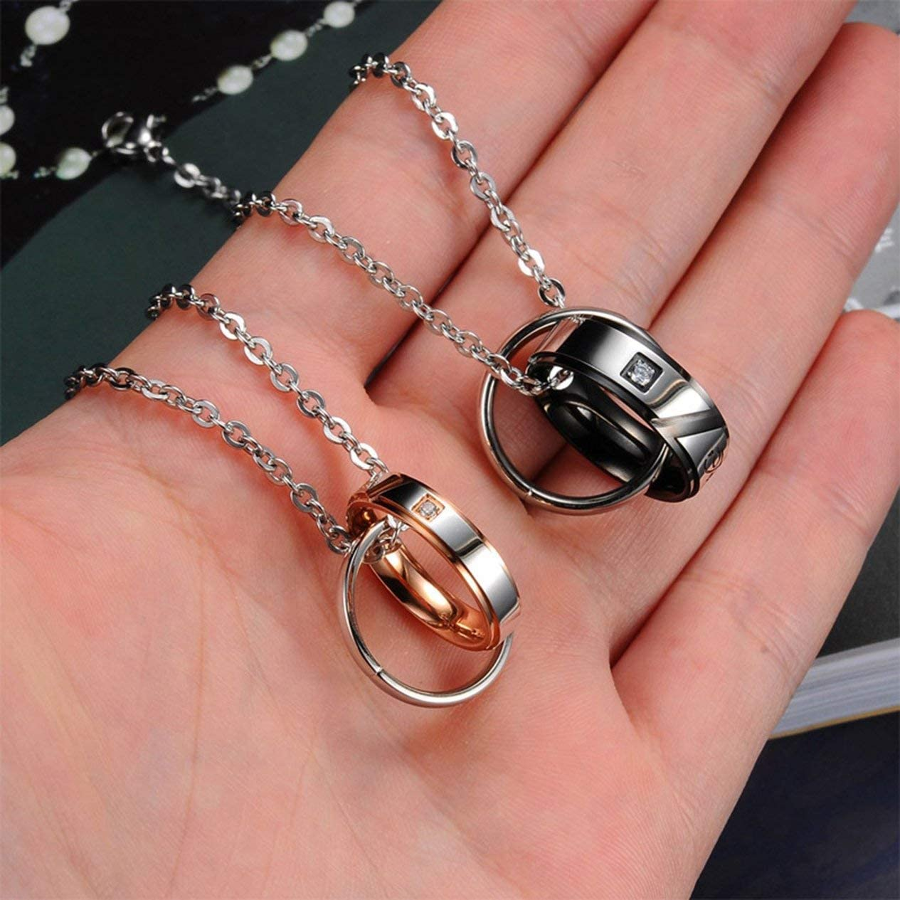 His /& Hers Matching Set Titanium Stainless Steel Couple Pendant Necklace Korean Love Style