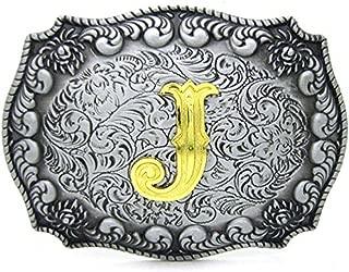 Initial Letters Belt Buckle for Men Western Cowboy Rodeo Gold/Silver Large Belt Buckle