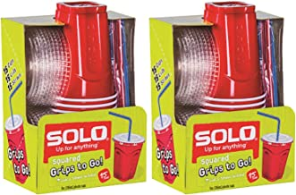 product image for Solo 9 Oz Plastic Cup, Lid, & Straw Combo Pack, 30 Cups, Red (2x 15cup Packs) (2, Red)