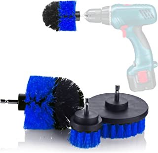 YIJINSHENG 3 Piece Medium and Stiff Brush with Drill Attachment Scrubbing Brushes for Cleaning Car Tires,Carpet, Kitchens,Bathrooms, Showers, Tubs, Boats Power Scrubber Kit (Blue)