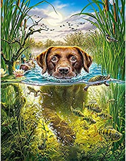 5D Diamond Painting Kits for Adults Kids, DIY Round Dog Full Drill Rhinestone Art Craft for Home Wall Deco