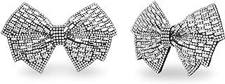 Silver Tone Rhinestone Bow Design Shoe Clip Set for Women