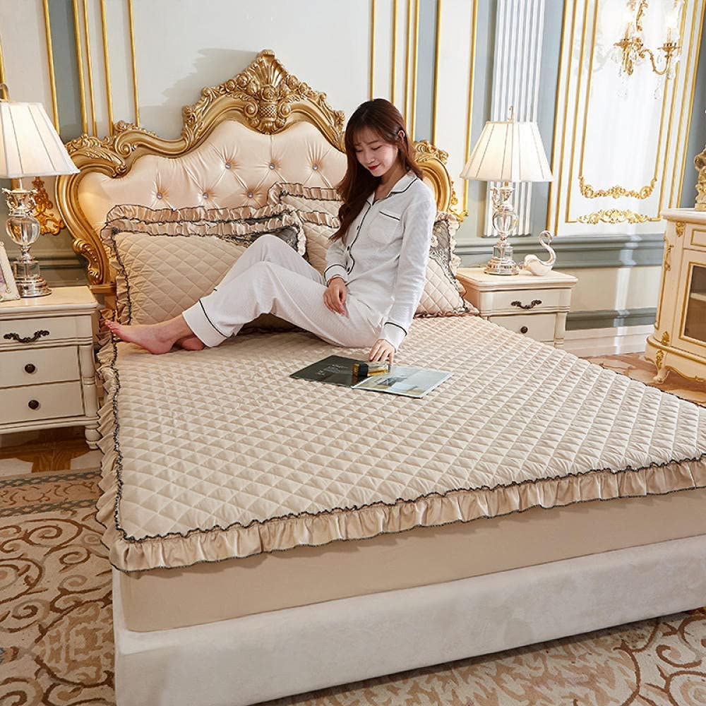 CFYCYHDZHT King Sheets Set Quilted Ranking TOP1 Ruffled 2021 Mattress T Thick Lace