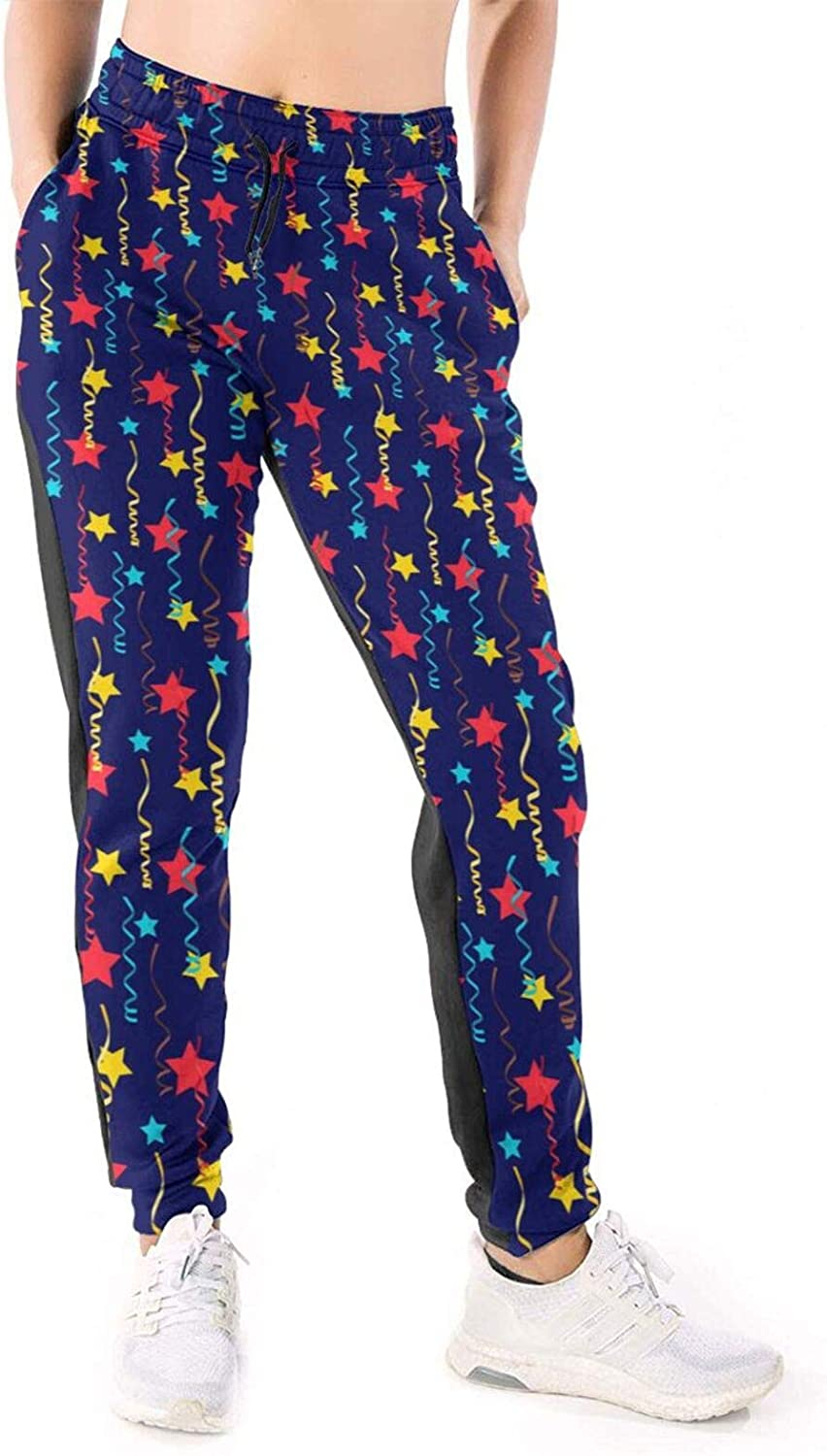 LONEA Women Joggers Pants Festive Stars and Serpentine Pattern Athletic Sweatpants with Pockets Casual Trousers Baggy