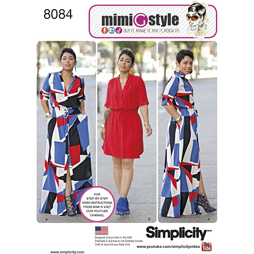 Simplicity Pattern 8084 Misses' and Miss Plus' Shirt Dress, 20W-28W