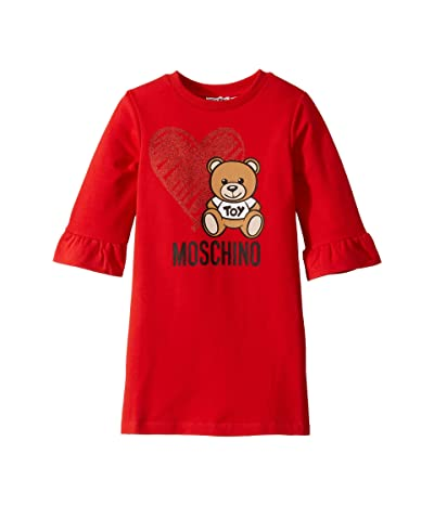 Moschino Kids Dress w/ Heart Toy Bear (Little Kids/Big Kids) (Poppy Red) Girl