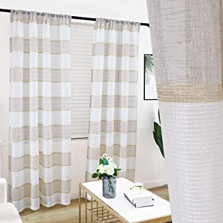 GRALI Beige Striped Linen Curtains, Translucent Burlap Neutral Sheer Drapes for Living Room/Sliding Door, 52