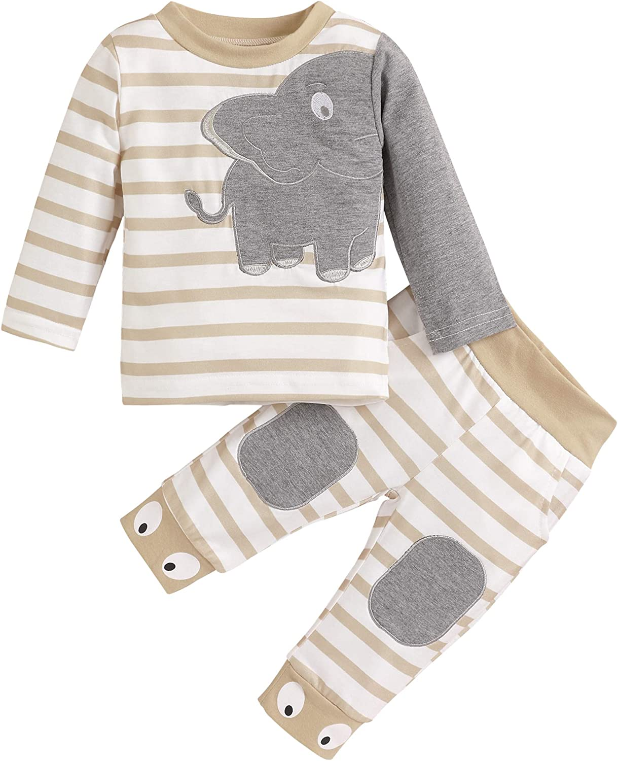 Infant Toddler Boy Clothes Elephant Printed Long Sleeve Sweatsuit and Pants Outfit Set