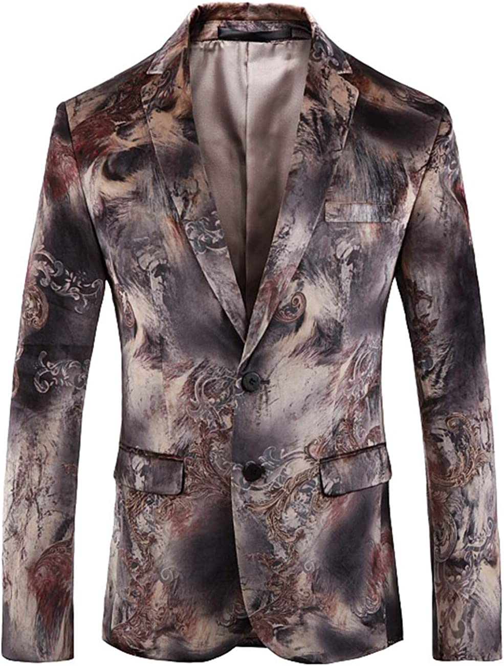 Men's Fashion Suit Jacket Printed Slim Fit Stylish Coat Blazer Jacket